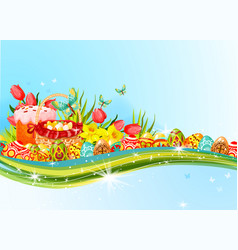 Easter egg and flower banner with copy space vector
