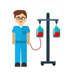 Medical doctor with bag blood donation tool vector