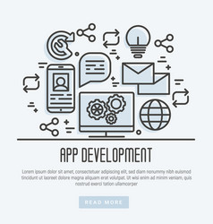 icons of mobile app development process thin line vector image