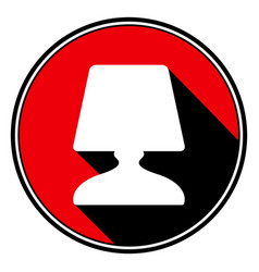 Red round with black shadow - white lamp icon vector