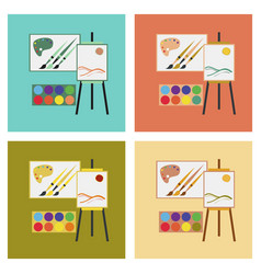Assembly flat icons drawing lesson vector