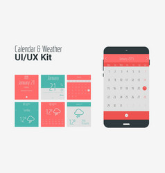 Flat ui or ux mobile calendar and weather apps kit vector