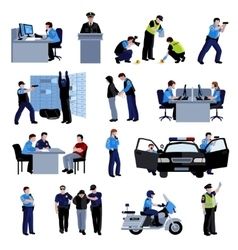 Policeman People Flat Color Icons vector image