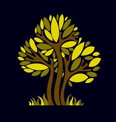 Art fantasy of tree stylized eco symbol graphic d vector