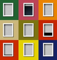Facade with windows and colored wall vector