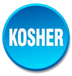 Kosher blue round flat isolated push button vector