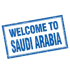 Saudi arabia blue square grunge welcome isolated vector
