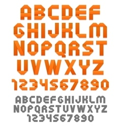 Orange ribbons alphabet vector image