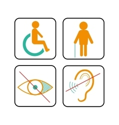 Disabled signs deaf blind and wheelchair vector