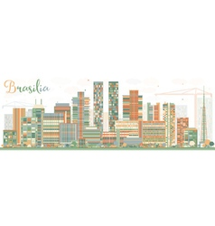 Abstract brasilia skyline with color buildings vector
