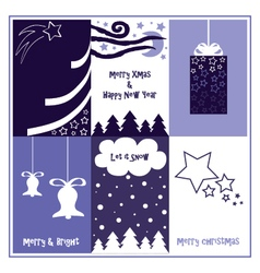 Blue christmas gift tags vector