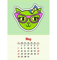 Calendar 2017 with cats May In cartoon 80s-90s vector image