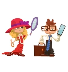 Cartoon boy and girl dressed like mother father vector image