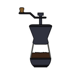 Color blurred coffee grinding jar with crank vector