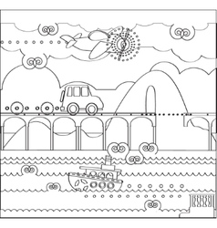 Coloring page about travel with bridge vector
