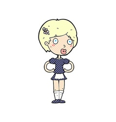 Comic cartoon woman in french maid outfit vector