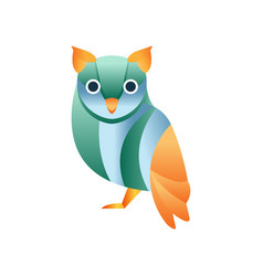 cute owl bird stylized geometric animal low poly vector image