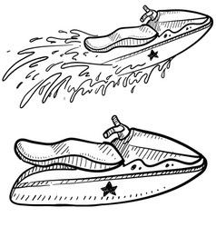 Doodle jetski vector