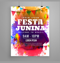 festa junina invitation flyer template design vector image