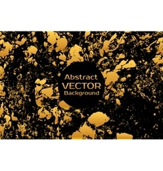 Golden on black abstract painted marble vector image