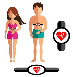 Heart rate monitor for healthy man and women vector