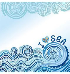 I love sea vector image vector image