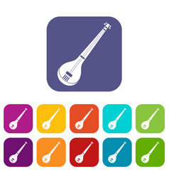 Indian guitar icons set flat vector