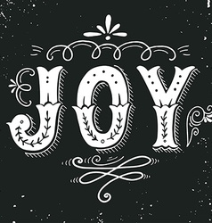 Joy Merry Christmas retro poster with hand vector image