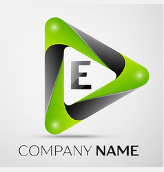 Letter e logo symbol in the colorful triangle on vector