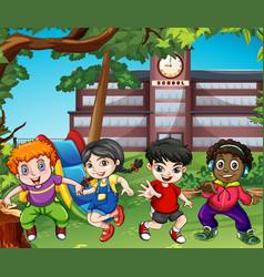 many happy children play at school vector image vector image