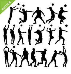 Men volleyball player silhouettes vector