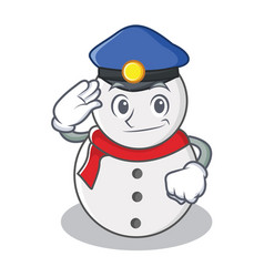 police snowman character cartoon style vector image
