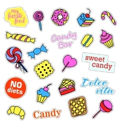 Pop art set with fashion patch badges sweets vector