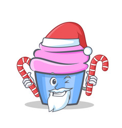 Santa cupcake character cartoon style with candy vector