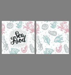 Sea food lettering and seamless pattern shell vector