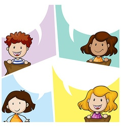 Speech bubble template with many kids vector image