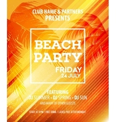Summer Beach Party Flyer Template vector image vector image