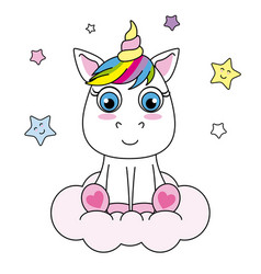Unicorn sitting on a cloud vector