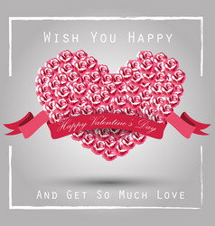 valentine heart concept of roses with pink ribbon vector image vector image