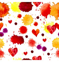 Watercolor colorful blot and heart seamless vector