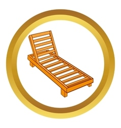 Wooden chaise lounge icon vector