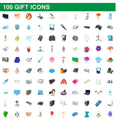 100 gift icons set cartoon style vector
