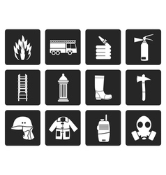 Black fire-brigade and fireman equipment icon vector