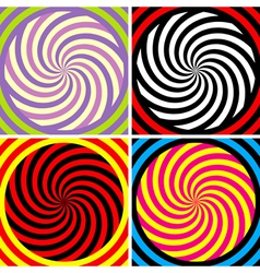 Set of four bright hypnotic poster vector