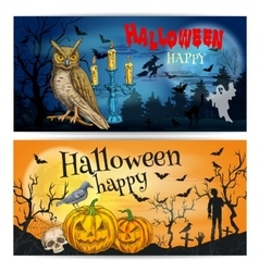 Artistic posters and cards for happy halloween vector