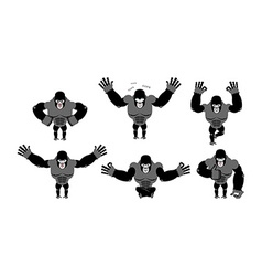 Gorilla set poses expression of emotions monkey vector