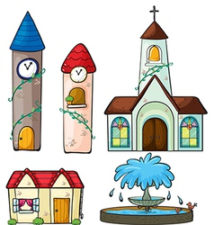 A clock tower church house and fountain vector