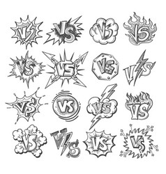 versus sketsh labels vector image