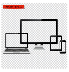 Desktop computer laptop tablet and mobile phone vector