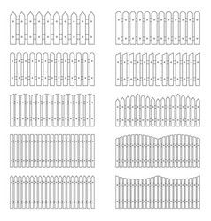 Set of outlines of fences vector